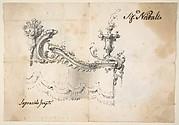 Design for a Canopy (recto).  Design for an Armchair (verso)