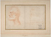 Head of a Bearded Man in Profile to Left (Portrait of Giorgio Anselmi); Faint Sketch of a Skull-like Head.