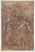 The Archangels Gabriel, Michael and Raphael (recto); sketches of figures (verso)