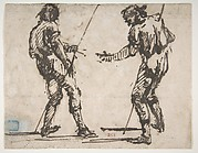 Two Men Holding Long Staffs (recto); Proof impression of part of an etching, and scribbles in the artist's hand (verso)
