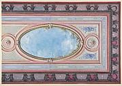 Design for Ceiling: Gallery of Château de Magnitot (recto); Decorative Design (verso)
