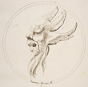 Grotesque Winged and Bearded Head Looking to the Left within a Circle