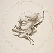 Grotesque Head With a Large Eyebrow Looking to the Left Within a Circle