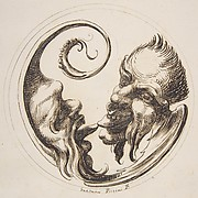 Two Grotesque Heads Facing One Another and Touching Tongues Within a Circle