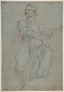 Seated Crowned Male Figure Holding a Book or Scroll (recto); Seated Nude Boy (verso)