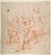 Study for a Virgin and Child with Two Angels (recto); Two Studies of Hands (verso)