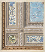 Design for the painted decoration of a coffered ceiling with initials:  VR