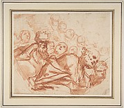 A Group of Saints and Angels (recto); Studies of a Male Figure in a Pendentive (verso)