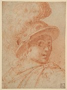 Bust of a Warrior Wearing a Plumed Helmet, Looking Toward Spectator Over His Right Shoulder (recto); Sketch of a Leg (verso)