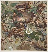 Design for wallpaper featuring shells, waterlilies, and cattails
