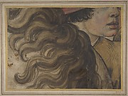 Head of a boy and section of a horse&#39;s mane