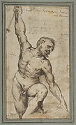 Nude Male Figure with Upraised Right Arm.