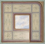 Design for the decoration of a ceiling with a central panel of painted clouds