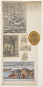 Seven drawings,including four decorative motifs and two scenes of interiors
