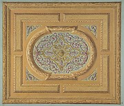Design for a ceiling decorated with bands of oak leaves and a central panel of scrolls and rinceaux