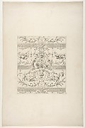 Design for a decorative motif featuring griffins and swags of fruit