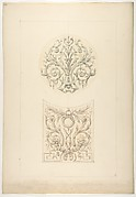 Two designs for decorative motifs featuring cornucopia and rinceaux