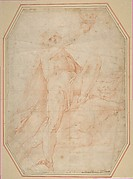 Male figure standing on a demon and holding up a skull; possibly a study for a figure in the cupola of the basilica at Loreta (recto); study of a male figure with upraised arm (verso)
