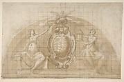 Design for a Lunette Decoration: Coat of Arms Flanked by Seated Allegorical Figures (recto and verso)