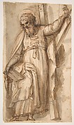Saint Andrew, Apostle, with Transverse Cross, Book, and Fish, verso: Architectural sketch in red chalk