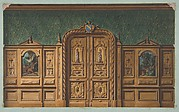 Design for a room with wood panels inset with paintings and a heavily-carved double door