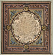 Design for the decoration of a ceiling with a trompe l'oeil painting of a coffered dome