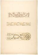 Three ornamental motifs in rococco style