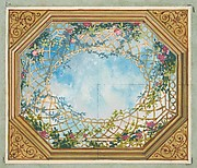 Design for a ceiling painted with clouds, trellises, and roses