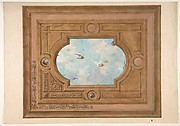 Design for a ceiling with a trompe l'oeil sky filled with birds