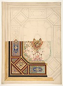 Design for a paneled ceiling to be painted in grotesque motifs