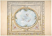 Design for a ceiling in rococo style with a trompe l'oeil oculus