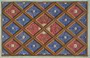 Design for a coffered ceiling with painted initials:  SRI (?)