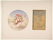 Two designs for the decoration of ceilings with figures in clouds