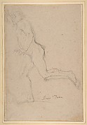 Nude Youth Running (recto); Standing Draped Old Man with Left Hand Upraised (verso)
