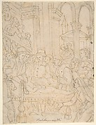 Saint Anthony of Padua Healing a Sick Man (recto); Partial Figural Studies Based on the Composition on the Recto (verso)