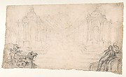 Design for a Festival Display of Fireworks (recto); Small Figures by a different hand (verso)