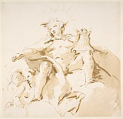 Apollo Seated on Clouds, Two Figures at Left
