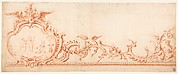 Ornament Drawing with Cartouche, Putti, and Monkeys