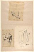 a. Study for Clovis (middle register); b. Study for Clovis (middle register); c. St. Dominic and another Friar, after Fra Angelico; (studies for wall paintings in the Chapel of Saint Remi, Sainte-Clotilde, Paris, 1858)