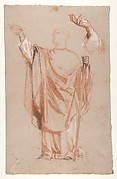 Study for Saint Remi (middle register); verso:  Study for Remi's Raised Arm (studies for wall paintings in the Chapel of Saint Remi, Sainte-Clotilde, Paris, 1858)