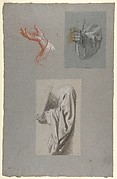 a.  Hand of Saint Remi; b.  Hand of Saint Remi; c.  Drapery Study for Acolyte Holding Book (middle register); (studies for wall paintings in the Chapel of Saint Remi, Sainte-Clotilde, Paris, 1858)