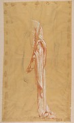 Drapery Study for Sainte-Clotilde (upper register); verso: Standing Soldier; (studies for wall paintings in the Chapel of Saint Remi, Sainte-Clotilde, Paris, 1858)