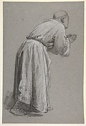 Cleric with Joined Hands (lower register?); verso: (same figure); (studies for wall paintings in the Chapel of Saint Remi, Sainte-Clotilde, Paris, 1858)