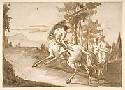 Centaur with Shield and Two Satyresses