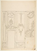 Design for a Wall Elevation with Halved Alternate Designs for the Doorway (recto); Designs for a Quarter of a Ceiling, Design for a Wall Elevation (verso)