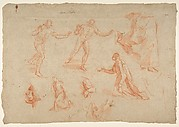 Figure and Drapery studies (recto); Three Studies of a Male Torso for the 'Coronation of Marcantonio Pasqualini' (verso)