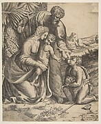 Holy Family with Saint John the Baptist who kneels at the right