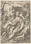 The Holy Family with Mary Magdalene and John the Baptist who embraces Christ