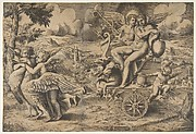 The triumph of Cupid and Psyche who are seated on a chariot drawn by two birds restrained by children