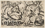 Triumph of Bacchus who is seated on a carriage at left